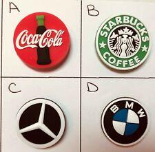 Logo PVC Shoe Charms BMW Mercedes Coke Rolling Stones Band Starbuck Coffee Logos