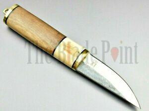 Handmade Carbon Steel Fixed Blade Bushcraft Outdoor Puukko Hunting Knife Sheath