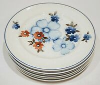 "Set of 6 Versatone by Noritake GLIMMER Floral Dinner Plates - 10 5/8"" Japan"