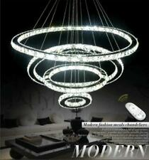 Remote dimmer Ring Crystal Chandelier LED Ceiling Lamp Living Room Pendant Light