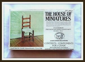 DOLL HOUSE OF MINIATURES SLAT BACK CHAIR KIT, WOVEN SEAT, ANTIQUE REPLICA