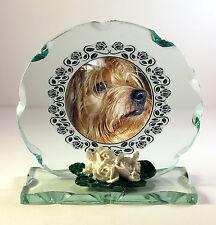 Dog Photo memorial Cut Glass Round Plaque Keepsake
