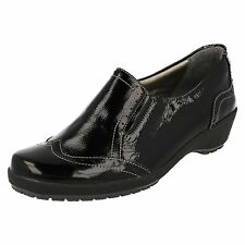 Ladies Suave Black Leather Slip On Brogue Casual Comfort Shoes : Rona