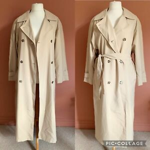 Vintage Cream Long Belted Trench/Mac Double Breasted Size 14/16 Oversized