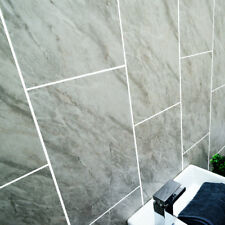 Grey Stone Marble Tile Bathroom Panels Shower Wet Wall Kitchen Cladding PVC