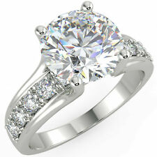 Engagement 14K White Gold Ring 2.60Ct Round Genuine Moissanite Diamond