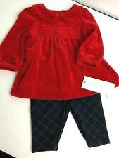 Ralph Lauren Red Velour Top Classic Plaid Pants 2 Pc Outfit Girls Sz 3 Month