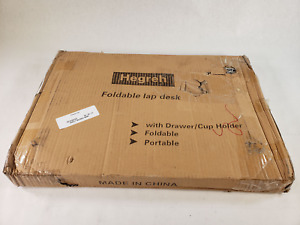 Hegreh Foldable Portable Lap Desk With Plugs, Drawer, and Cup Holder