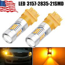 2X 3157 3156 1300 Lumens 50W Amber/Yellow Turn Signal High Power LED Light Bulbs