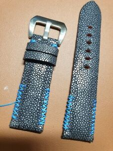 24/22mm Custom made handmade stingray skin leather watch strap for PM