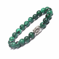 Women Natural Malachite STONE Buddha Head Lucky Stretch Yoga BRACELET 19cm