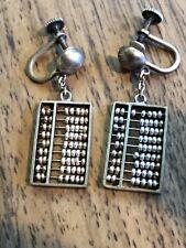 Earrings Mechanical Abacus Screw-Back Vintage Signed Silver Drop