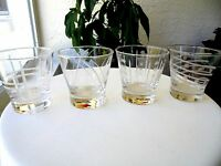 "Set of 4 Cheers Style Double Old Fashioned Glasses 3 3/4"" Tall"