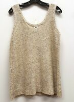 ANNE KLEIN Size S Beige Ivory Metallic Sequins Knit Sleeveless Tank Top