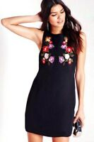 Asos Ladies Embroidery Sleeveless Back Zip Shift Dress in Black or White
