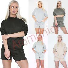 Women Frill Ruched Short Sleeve Hooded Ladies Loungewear Shorts Tracksuit Set