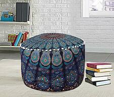 Indian Footstool Peacock Mandala Design Cotto Handmade Blue Ottoman Cover Ethnic
