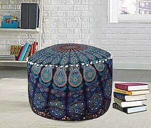 Indian Footstool Peacock Mandala Design Cotto Handmade Blue Ottoman Cover Ethnic