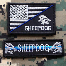 USA AMERICAN FLAG SHEEPDOG K9 POLICE BLUE LINE TAB US ARMY TACTICAL MORALE PATCH