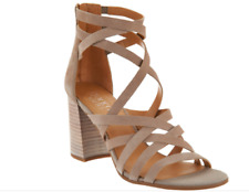 NEW Franco Sarto Leather Block Heel Sandals - MADRID - HI TECH GREY  (Taupe) 11M