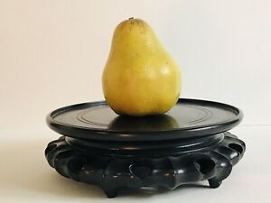 Vintage Chinese Ebonized Hand Carved Wood Vase Stand > for Porcelain Cloisonne