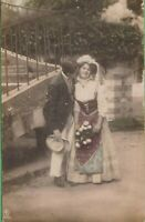 Vintage Antique Love Couple Romance RPPC Postcard AL Cheek Kiss Printed Germany