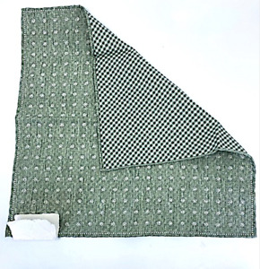 New Brunello Cucinelli Green Silk-Cotton Floral Check 2 sided Pocket Square $120