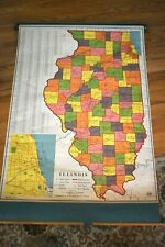 Vintage Classroom A. J. Nystrom Pull Down Map #US-112 Illinois 1960's