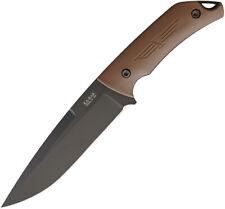 Ka-Bar Jarosz Turok 1095 Cro-Van Brown Handle Black Fixed Knife w/ Sheath 7503