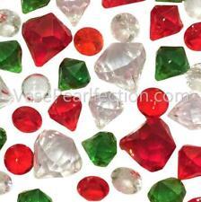 Green, Red & Sparkling Diamond Gems - Jumbo/assorted Sizes Vase Decorations