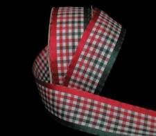"5 Yard HTF Christmas Red Dark Green Jelly Jello Gingham Ribbon 1 1/2""W"
