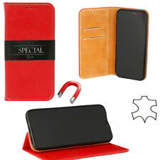 ^ Huawei P Smart Echt Leder Book Flip Buch Case Handy Tasche Schutz Hülle ROT