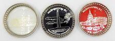 Set of 3 Commemorative Washington DC Ashtrays Silver Plated 1960s 1970s JAPAN