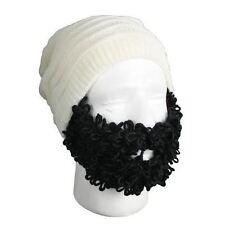 Beard Head Curly Pearl Beanie With Black Removable Velcro Beard