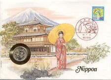 superbe enveloppe JAPON JAPAN mont fuji pièce monnaie 100 yen UNC NEW timbre