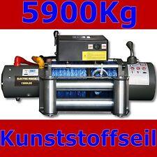 Elektrische Seilwinde Winde 5900Kg 12V 12 Volt Motorwinde mit KUNSTSTOFFSEIL