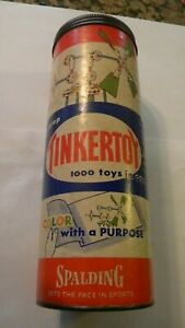 VINTAGE 1950s ORIGINAL TINKERTOY PREP SET WITH 63 OF 78 PIECES WITH DIRECTIONS#2