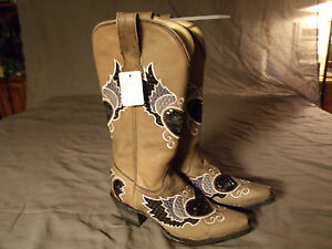 Corral Ladies Cowboy Western Boots Black/Gray Heart Wing Sequins R1015 Sz 6.5M