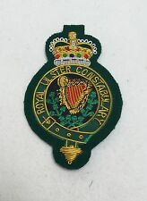 RUC Blazer Badge, Royal Ulster Constabulary, Wire Embroidered, Military, Army