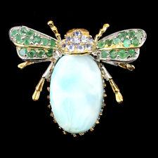 Handmade Oval Larimar Emerald Sapphire Tanzanite 925 Sterling Silver Bee Brooch