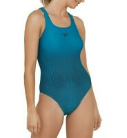 SPEEDO WOMENS SWIMSUIT.PLACEMENT MEDALIST TEAL ENDURANCE+ SWIMMING COSTUME S20