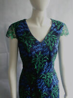 Versatile Navy Blue Shift Dress with Embroidered Organza Overlay by Jacques Vert