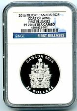 2016 $25 CANADA SILVER PROOF PIEFORT NGC PF70 UC COAT OF ARMS PIEDFORT SOLD OUT!