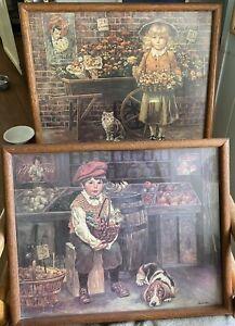 Lee Dubin Framed Prints Pair Billy Boy Bassett Hound Girl Cat Selling Flowers