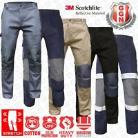 Work Trousers Cargo Pants Mens Ladies Stretch Cotton KNEE POCKETS Slim Fit