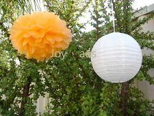 12x Orange paper pom poms white lanterns wedding birthday baby shower decoration