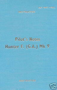 HAWKER HUNTER F.(G.A.)Mk.9 PILOT'S NOTES AP 4347F P.N.