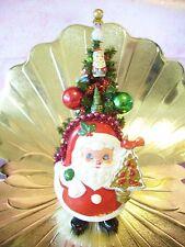 VTG Napco Christmas Santa Bottle Brush Tree Ornament Mercury Glass Blubs Planter