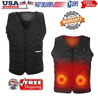 US Electric USB Heated Warm Vest Men Women Heating Coat Jacket Skiing Clothe USA