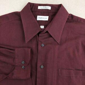 Van Heusen Pique Dress Shirt Mens 17.5 Maroon 34/35 Sleeve Pointed Collar Career